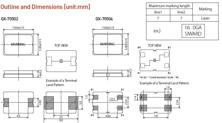 希华晶振,贴片晶振,GX-70504晶振,7050无源贴片晶体谐振器